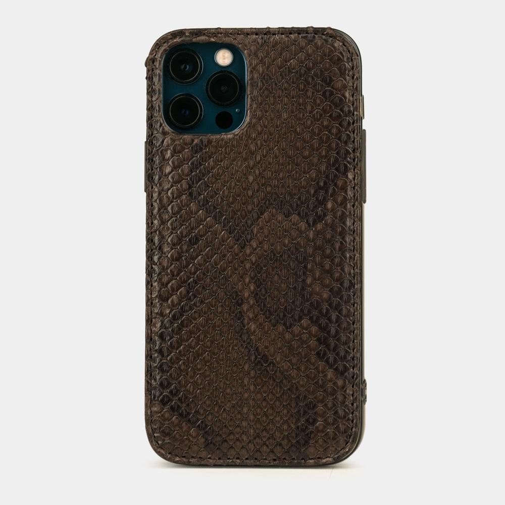 Чехол-накладка для iPhone 12/12Pro из натуральной кожи питона, темно-коричневого цвета
