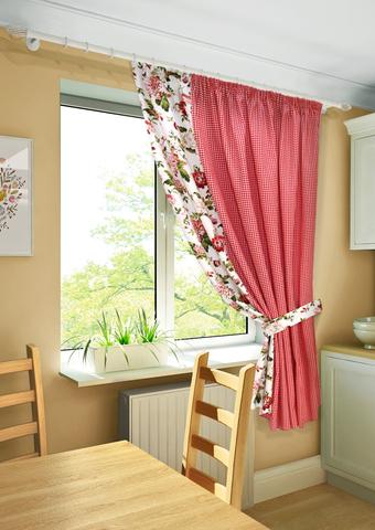 Готовая штора на тесьме для кухни с подхватом Кимберли красный