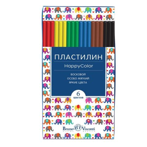 Пластилин BRUNO VISCONTI Happycolor 6 цв восковой 34-0008/1
