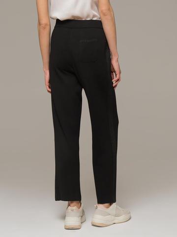 Женские черные брюки из вискозы на высокой талии - фото 2