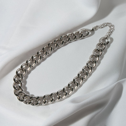 Колье-цепь с очень крупными звеньями (серебристый)