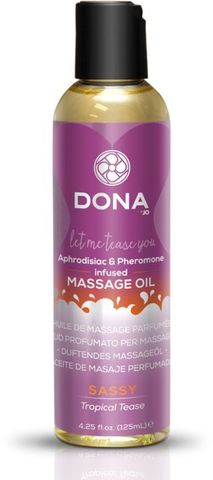 Массажное масло с феромонами DONA Sassy Tropical Tease - 110 мл.