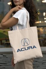 Женская сумка-шоппер с принтом Акура (Acura) бежевая 001