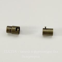 Замок для шнура 6 мм магнитный из 2х частей, 17х8 мм (цвет - античная бронза)