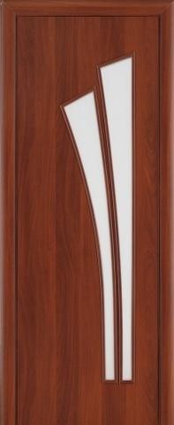 Дверь Сибирь Профиль Лагуна (С-7), цвет итальянский орех, остекленная