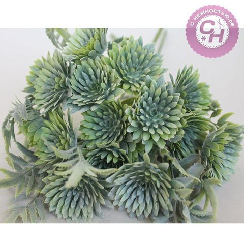 Искусственная зелень  - календула флористическая, 3 объемные ветки, букет 36 см.