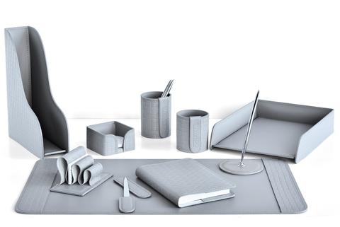 Настольный набор  Treccia/серый 10 предметов из кожи с ежедневником