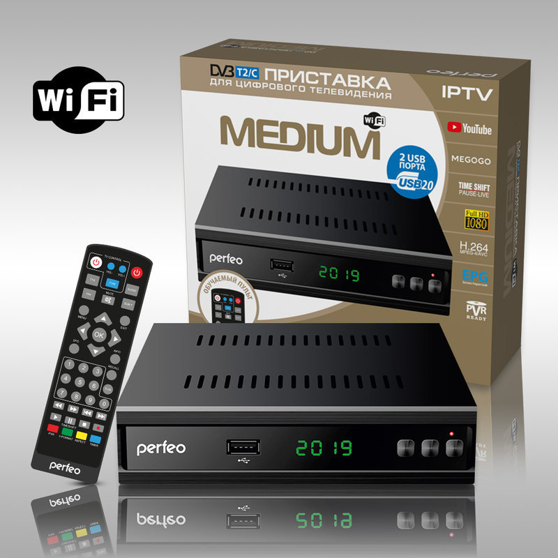 Цифровая приставка DVB-T2/C «MEDIUM», Wi-Fi, IPTV, HDMI, 2 USB, обучаемый пульт ДУ