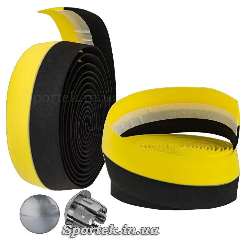 Обмотка на руль из черно-желтой полиуретановой ленты