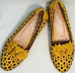 Женские туфли босоножки с закрытым носком и закрытой пяткой Phany 103-28 Yellow.