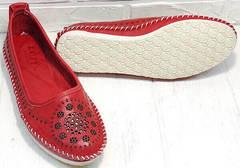 Мягкие балетки туфли женские кожаные на низком ходу Rozen 212 Red.