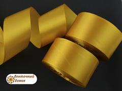 Лента атласная шириной 5см темно-золотая - 117