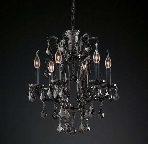 Подвесной светильник копия 19th C. Rococo Iron & Smoke Crystal Round Chandelier 18