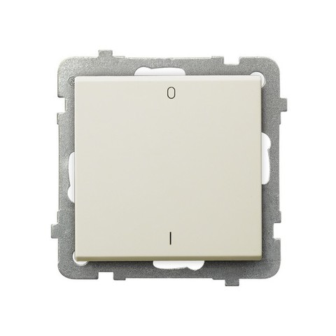 Выключатель одноклавишный 2-полюсный. Цвет Бежевый. Ospel. Sonata. LP-11R/m/27