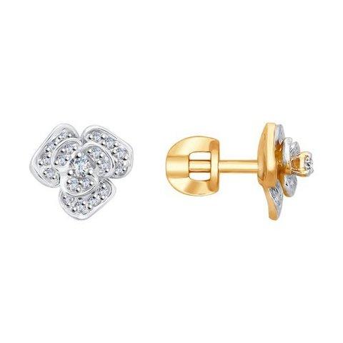 1021191 - Серьги-пусеты в форме Розы из золота с бриллиантами