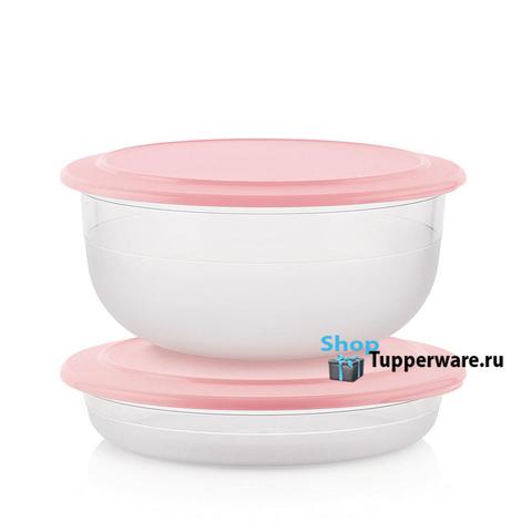Чаша 6л и блюдо 2л в розовом цвете