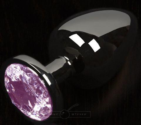 Графитовая анальная пробка с розовым кристаллом - 6 см.