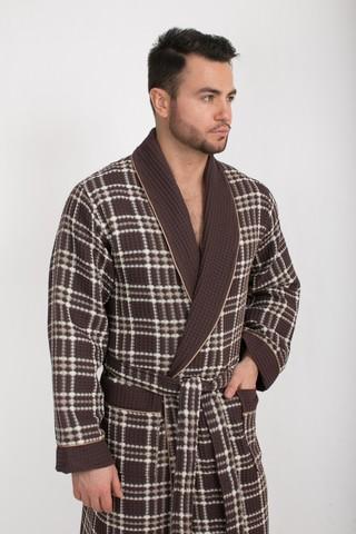 Вафельный  мужской халат Gentelmen Style шоколадный