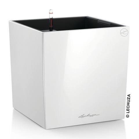 16360 Кашпо LECHUZA Кьюб 40 Белый блестящий с системой полива