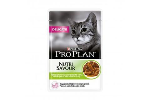 Консервы Purina Pro Plan Delicate для кошек с чувствительным пищеварением, ягнёнок в соусе, 85 г