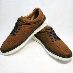 Мужские спортивные туфли кроссовки для повседневной носки Vitto Men Shoes 1830 Brown White