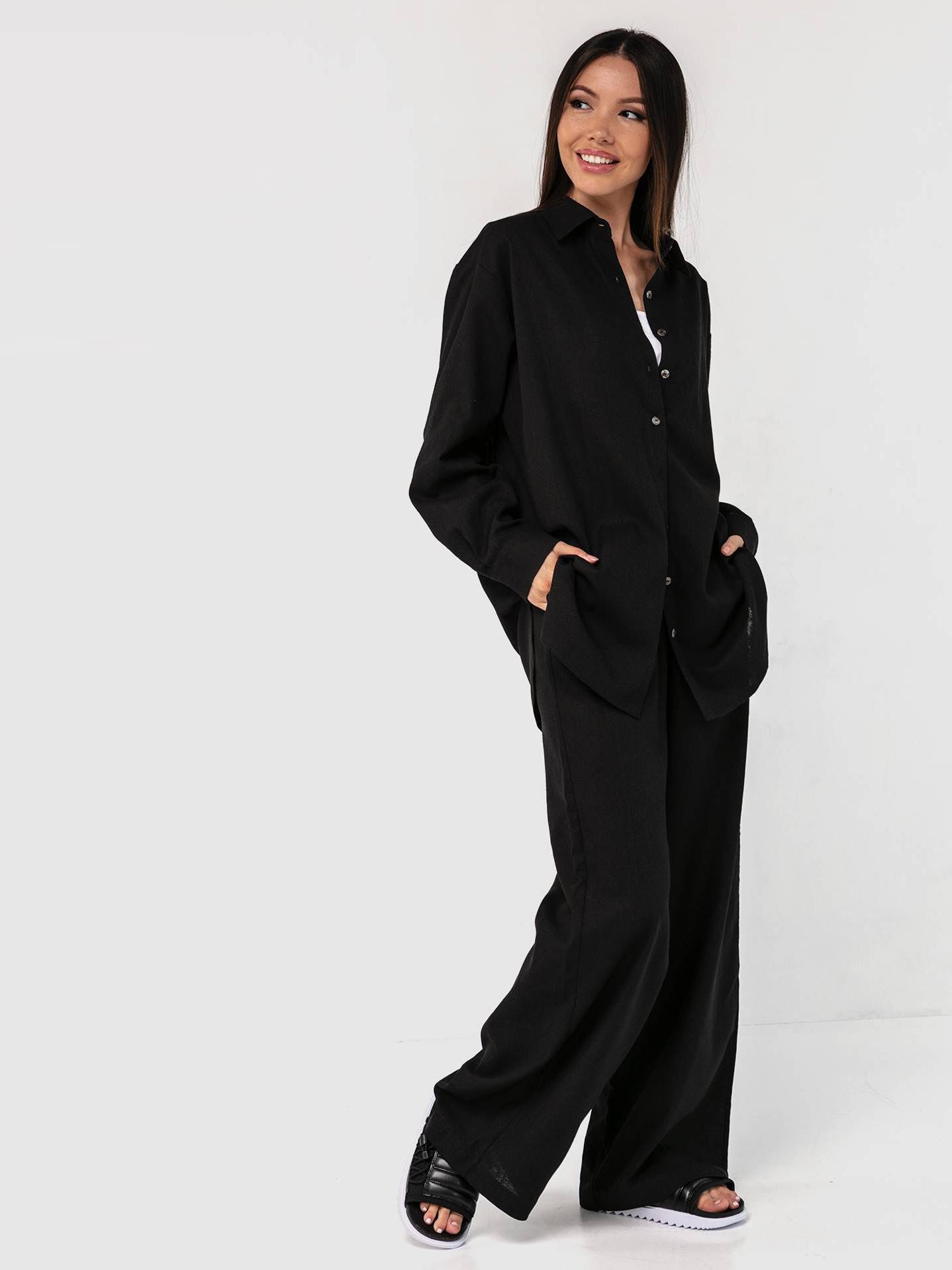 Льняной костюм черный YOS от украинского бренда Your Own Style