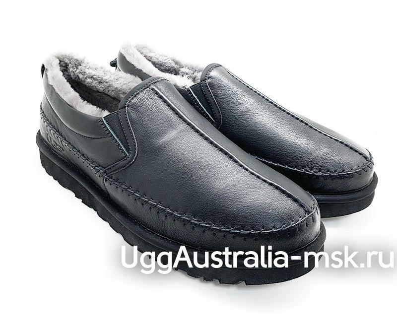 UGG MENS SLIP ON FLEX MEN BLACK LEATHER