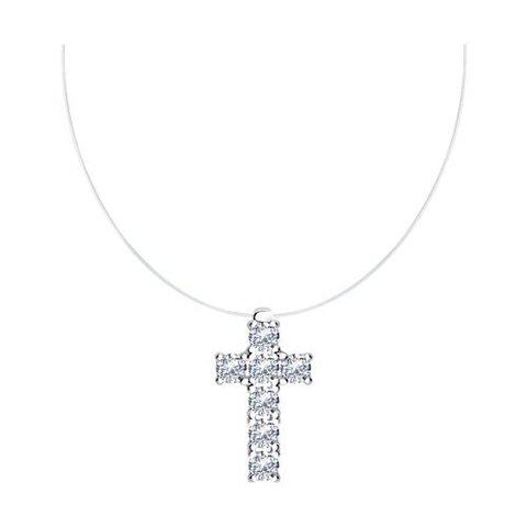 94070452 - Крестик на леске-невидимке из серебра с фианитами