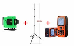 Лазерный уровень FARRTRAN R-1 12 зеленых лучей(нижний горизонт) + штатив 3 метра + лазерный дальномер LOMVUM LV55