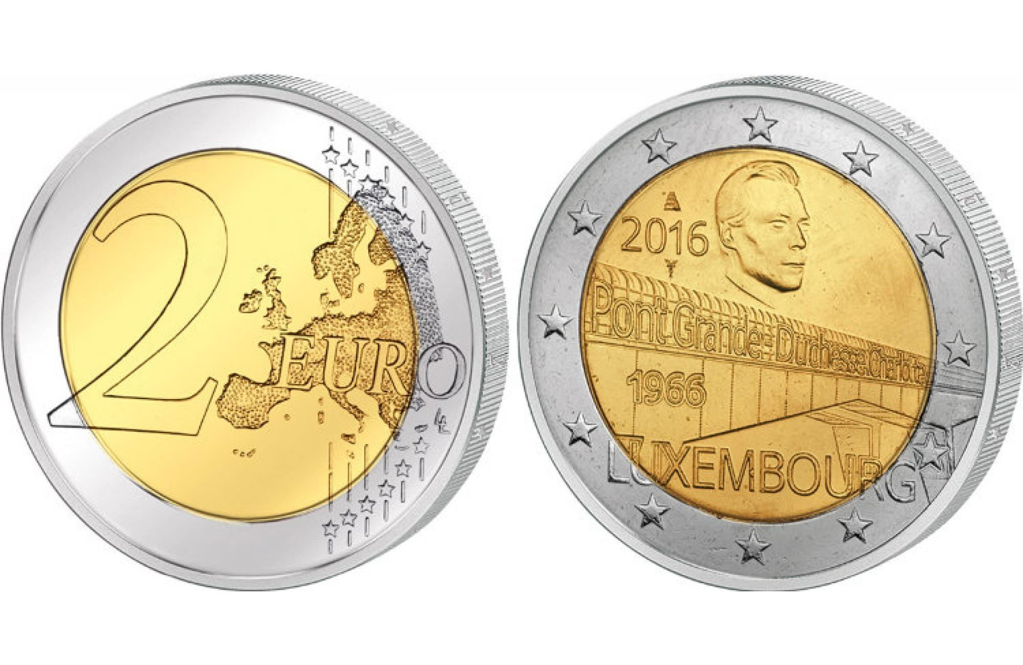 2 евро 2016 Люксембург - мост Шарлотты.