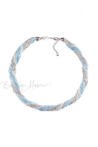 Бисерное ожерелье 24 нити цвет серебристо-голубой