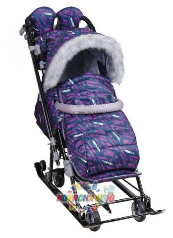 Санки-коляска «Ника Детям 7-8S» фиолетовые
