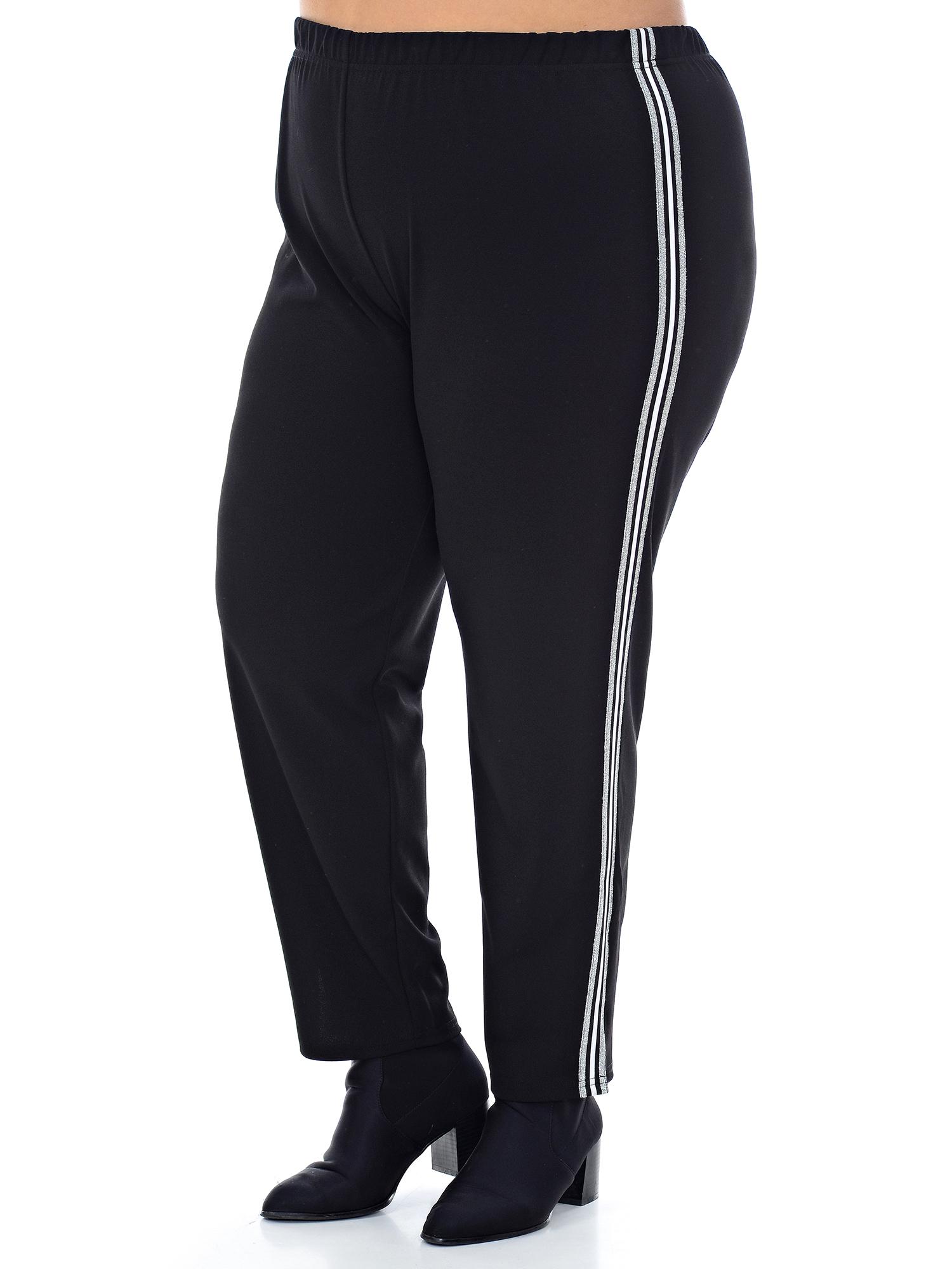 Женские черные брюк с лампасами для полных