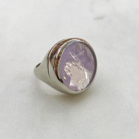 Кольцо Vi круг хрусталь розовый