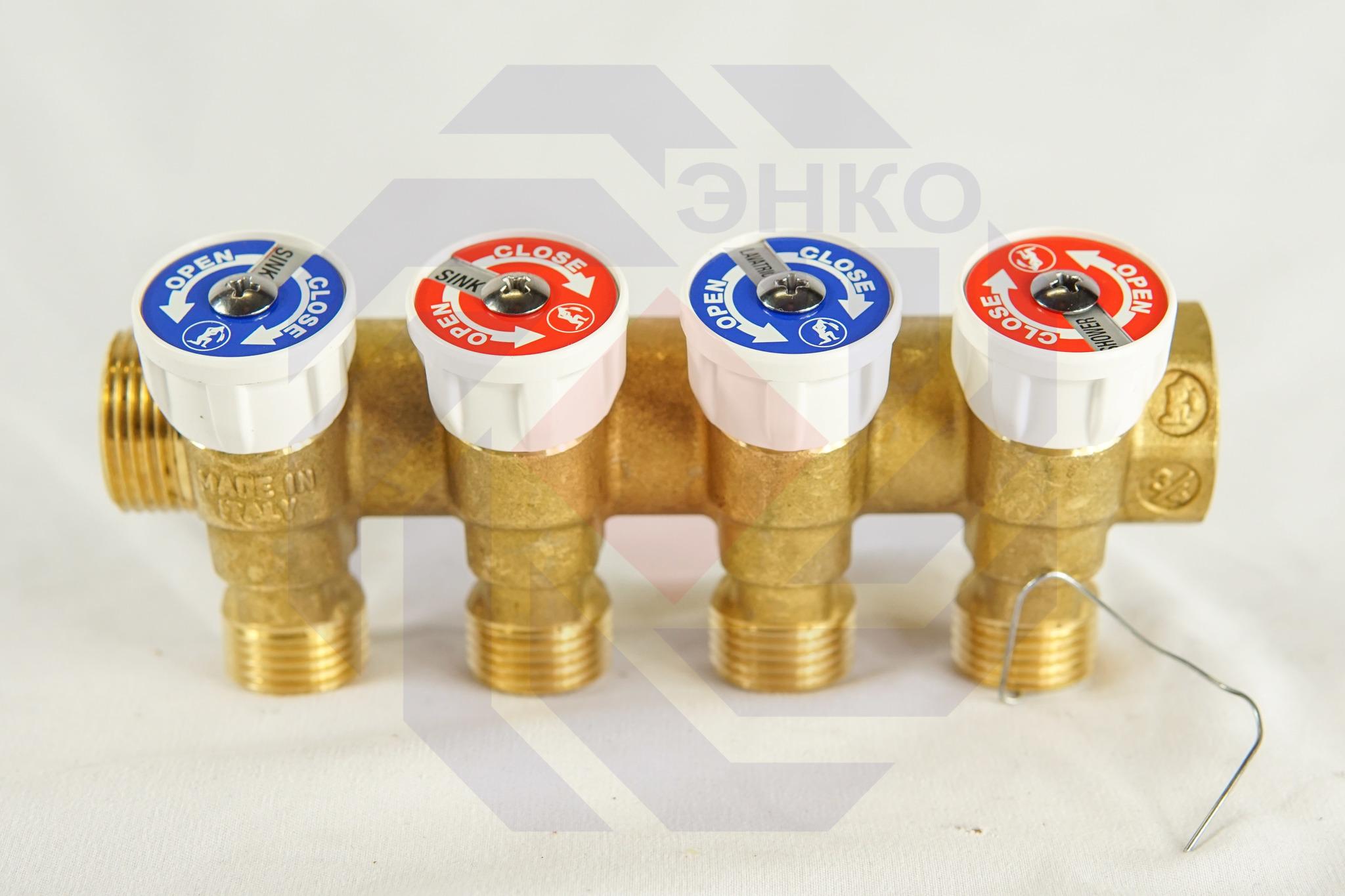 Коллектор сантехнический с отсечными клапанами GIACOMINI R585С 4 отвода