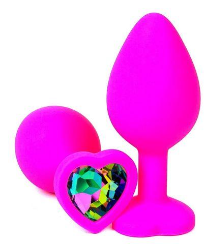 Розовая силиконовая пробка с разноцветным кристаллом-сердечком - 8 см.