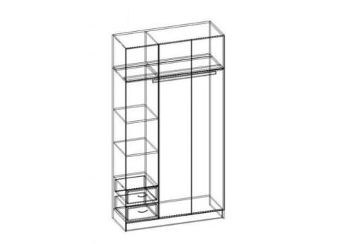 Шкаф 3-х створчатый с 2-мя ящиками