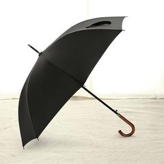 Элегантный зонт трость с деревянной ручкой - крюком, 8 спиц OLYCAT (черный)