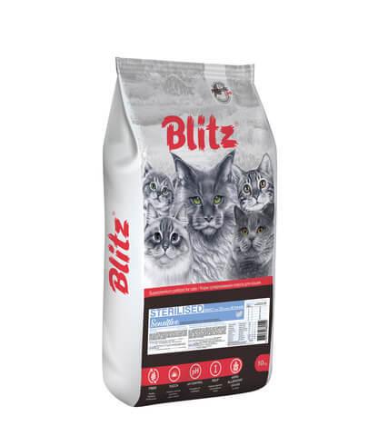купить Blitz Sterilised сухой корм для стерилизованных кошек с индейкой 10 кг