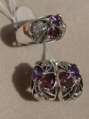 Листопад (кольцо + серьги из серебра)