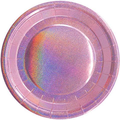 1502-4078 Тарелки голографические розовые, 6 шт