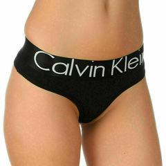 Женские трусы стринги черные с черной резинкой Calvin Klein Women String B-Black