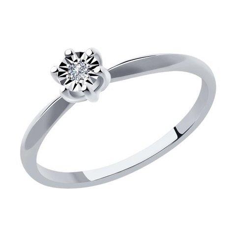 1012098- Кольцо помолвочное из белого золота с бриллиантами