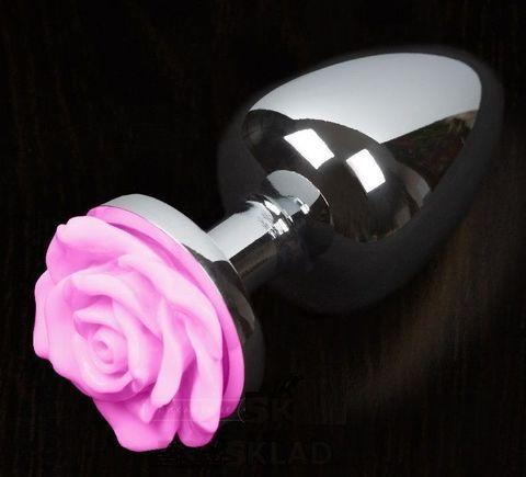 Маленькая анальная пробка с розовой розочкой - 6 см.