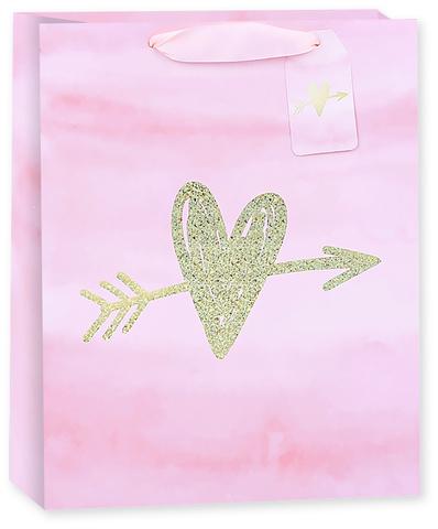 Пакет подарочный, Стрела любви, Розовый, Голография, 32*26*12 см
