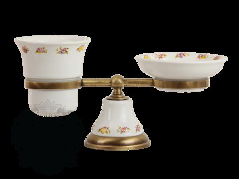 Стакан и мыльница  настольные Migliore Provance ML.PRO-60.510 керамика с декором