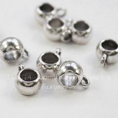 Бейл гладкий 11х8х5 мм (цвет - античное серебро), 5 штук