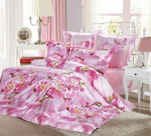 Сатиновое постельное бельё  2 спальное  В-149