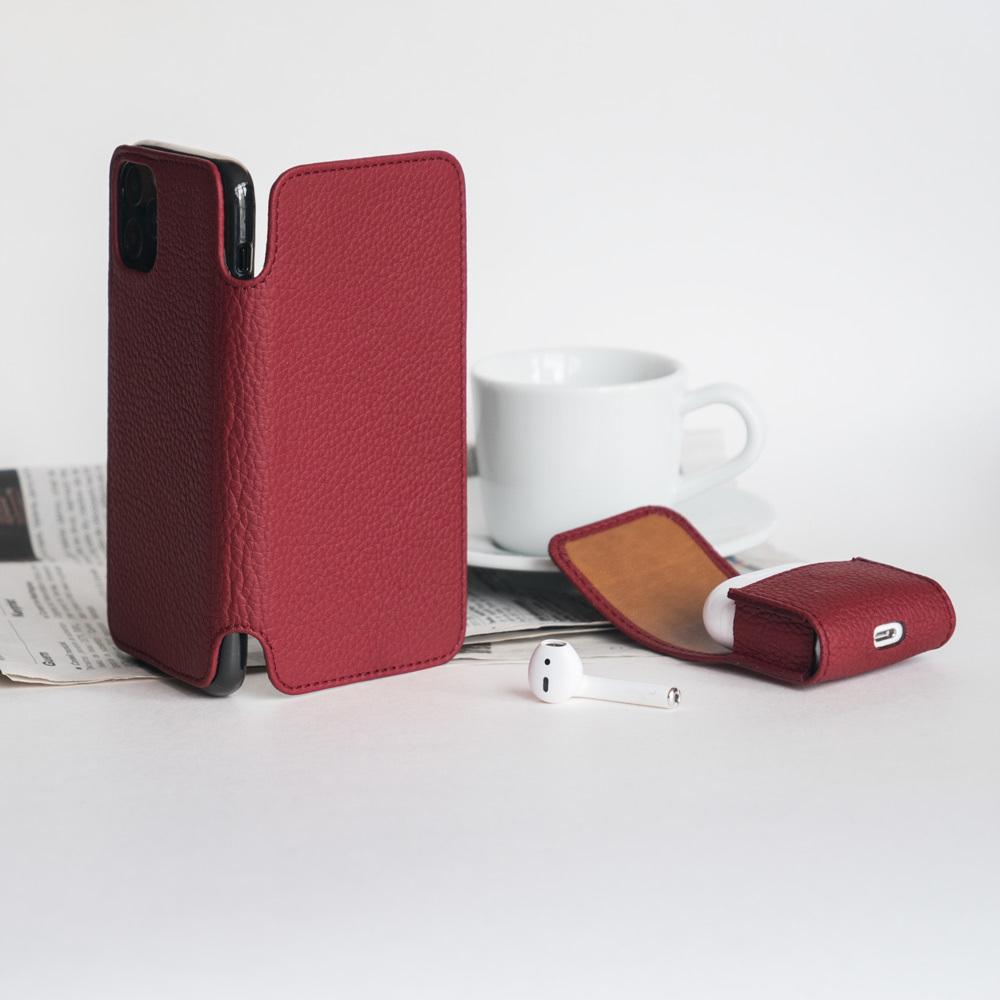 Чехол Benoit для iPhone 11 Pro из натуральной кожи теленка, вишневого цвета