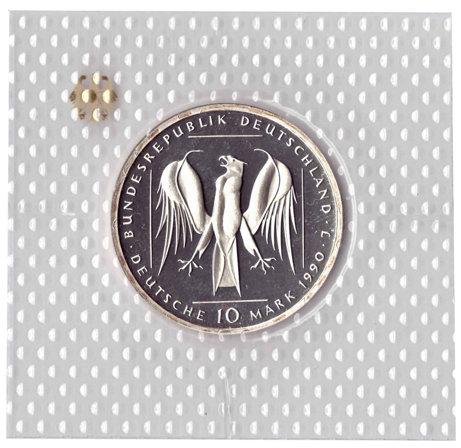 10 марок 1990 год (J) 800 лет Тевтонскому ордену, Германия. PROOF в родной запайке